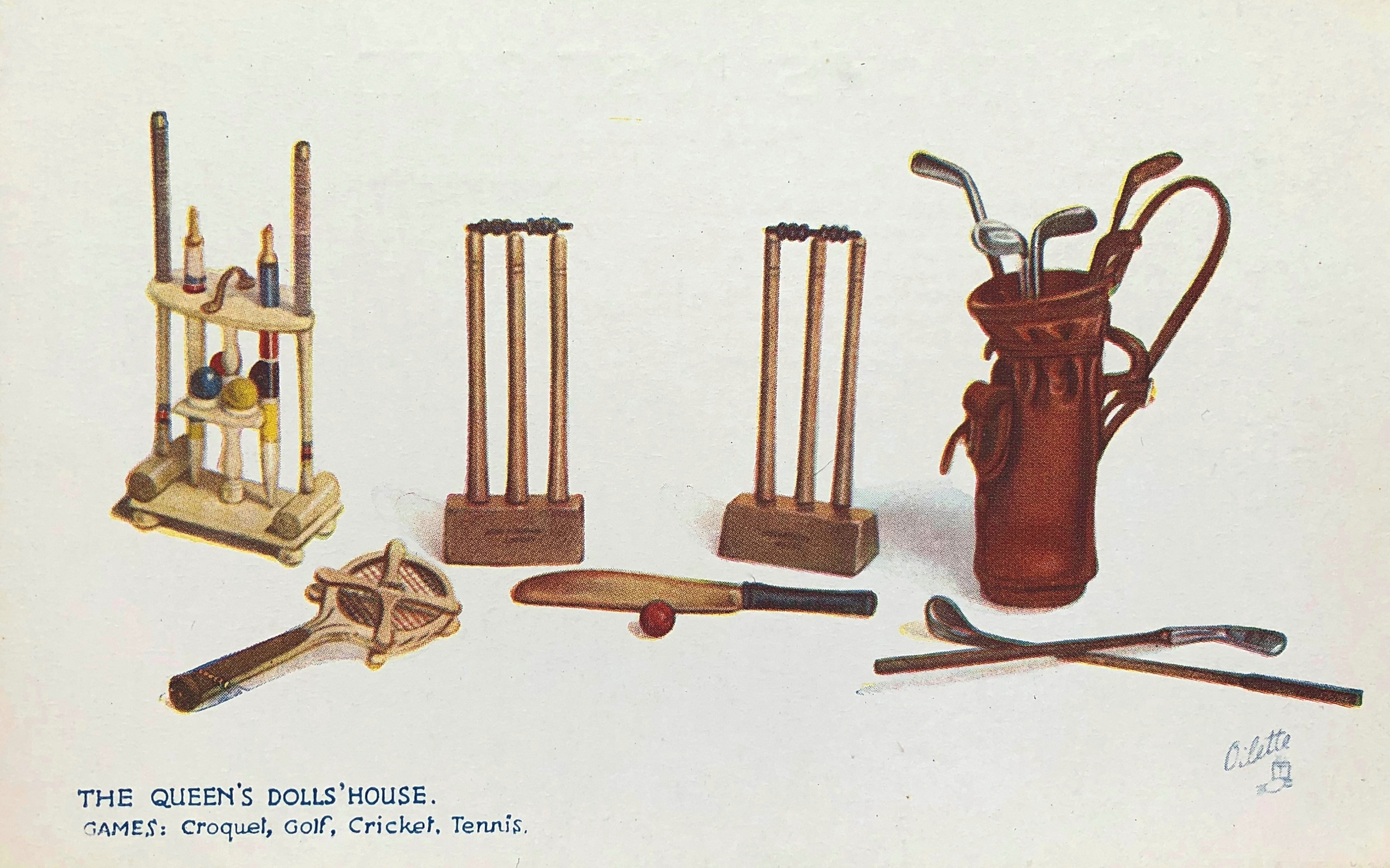 The miniature wooden golf clubs made by Charles Gibson for Queen Mary\'s Dolls\' House