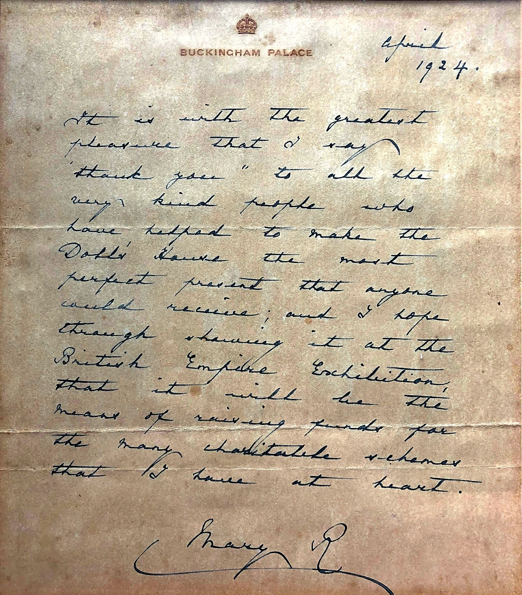 A signed letter from Queen Mary to Charles Gibson, 1924
