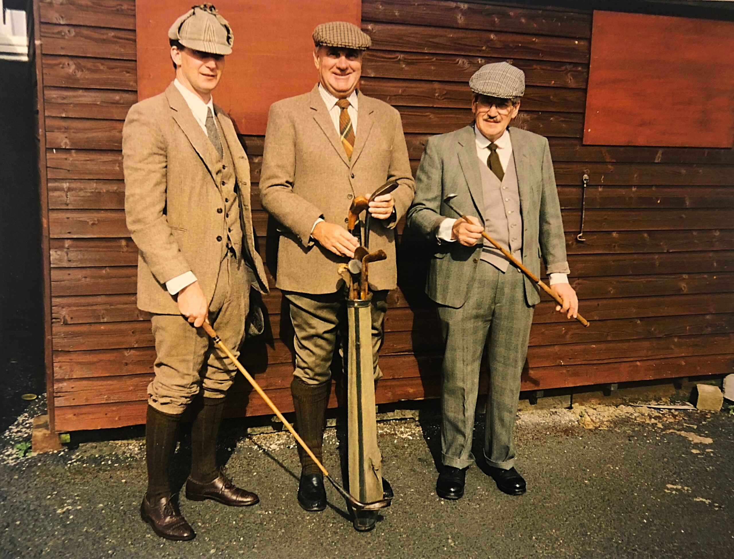 Left to right: Shaun Davies, Peter Mills and John Davies at a historical golf event, Turnbery G.C.