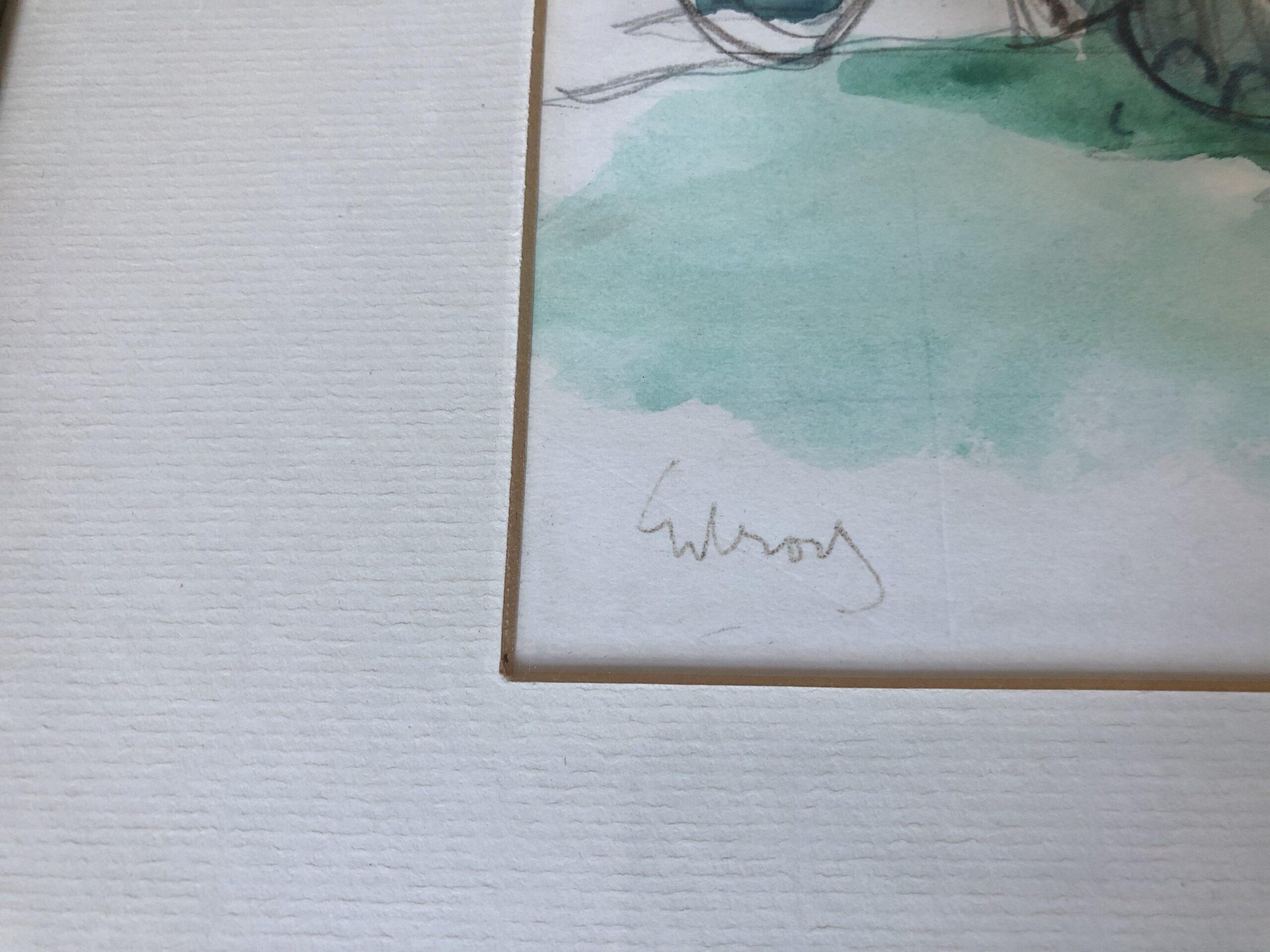 John Gilroy (1898-1985) Pen and Watercolour Painting